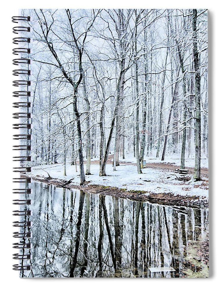 Tree Line Spiral Notebook featuring the photograph Tree Line Reflections In Lake During Winter Snow Storm by Alex Grichenko