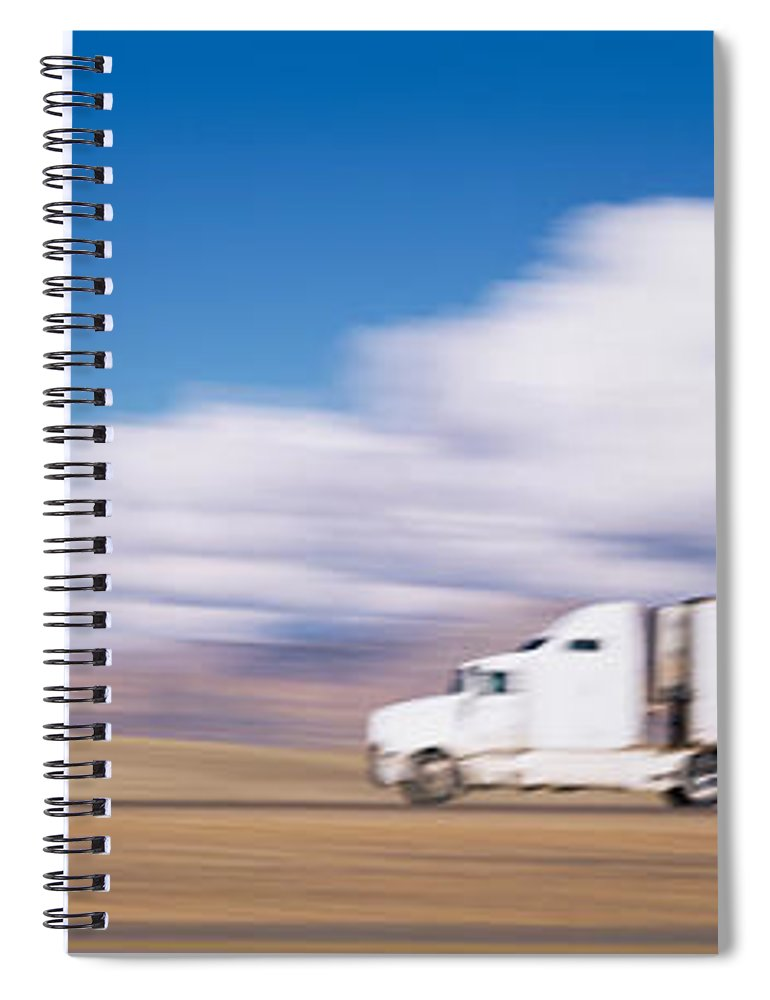 Photography Spiral Notebook featuring the photograph Truck On The Road, Interstate 70, Green by Panoramic Images