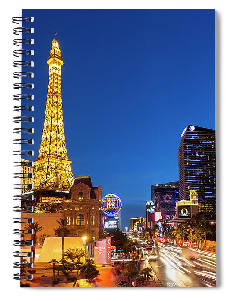 Las Vegas Replica Eiffel Tower Spiral Notebook featuring the photograph Usa, Nevada, Las Vegas, Paris Las Vegas by Sylvain Sonnet