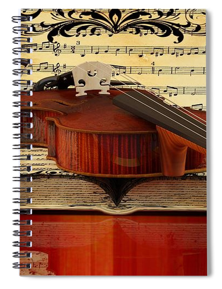 Violin Picture Spiral Notebook featuring the digital art Violin by Louis Ferreira