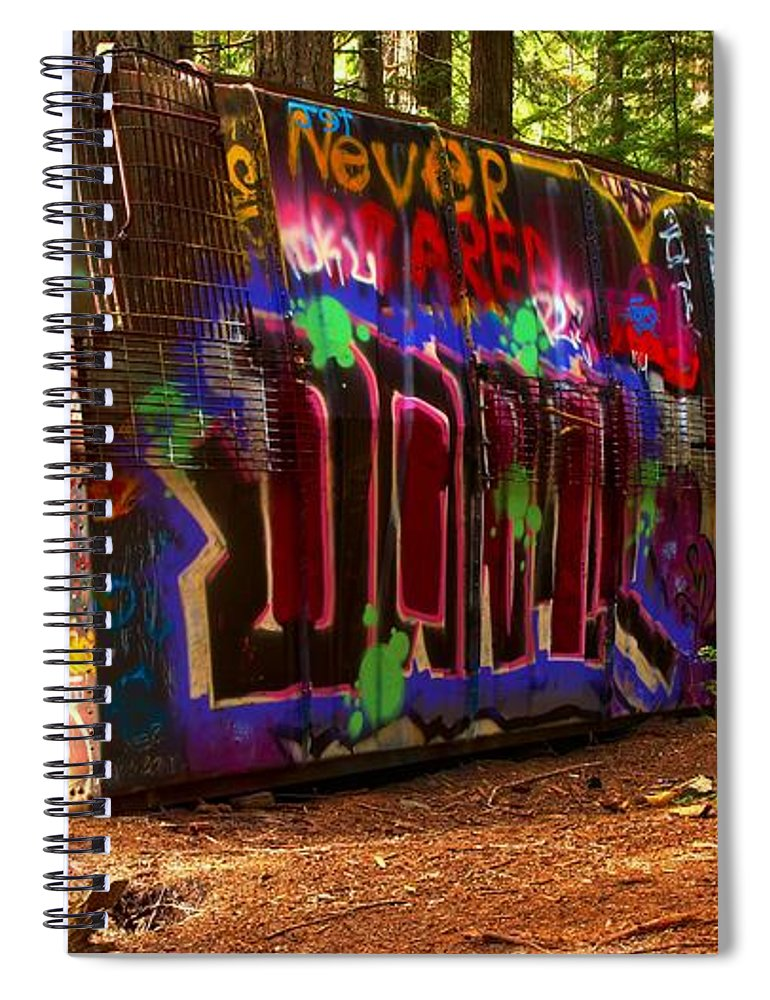 Train Wreck Spiral Notebook featuring the photograph Whistler Train Wreck Box Car by Adam Jewell