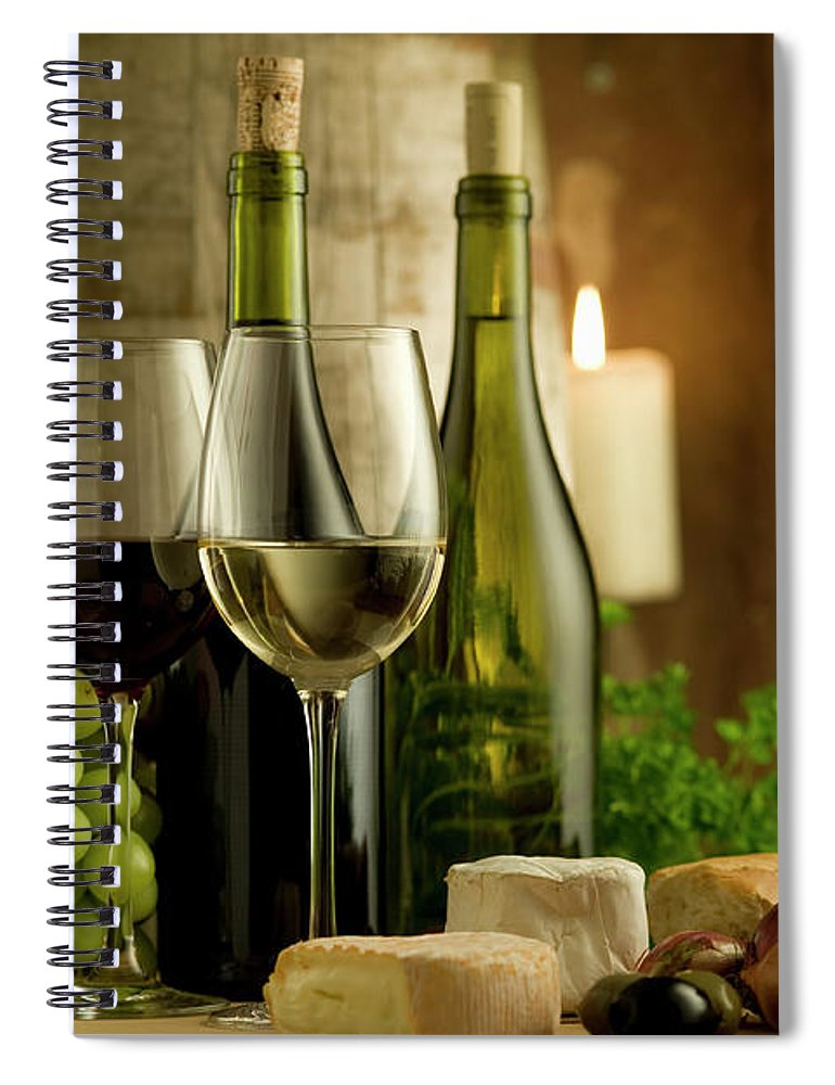 Cheese Spiral Notebook featuring the photograph White And Red Wine In A French Style by Kontrast-fotodesign
