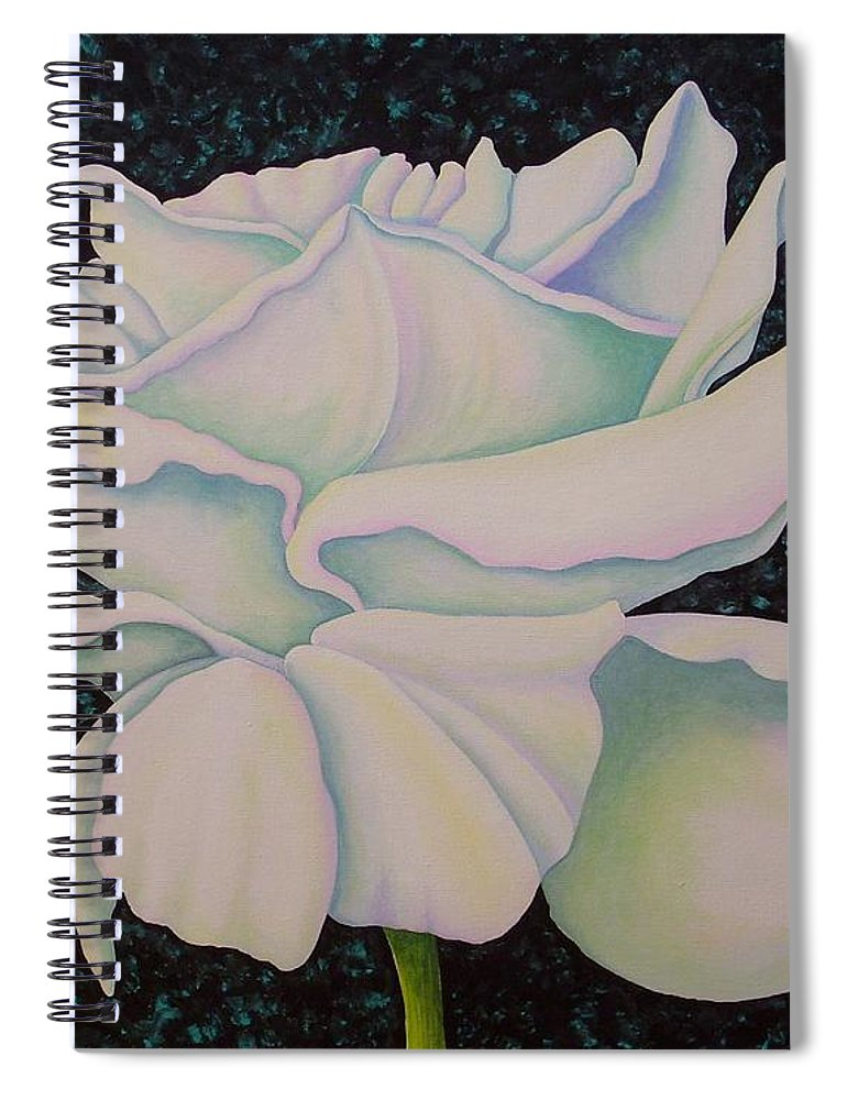 Acrylic Spiral Notebook featuring the painting White Rose by Carol Sabo