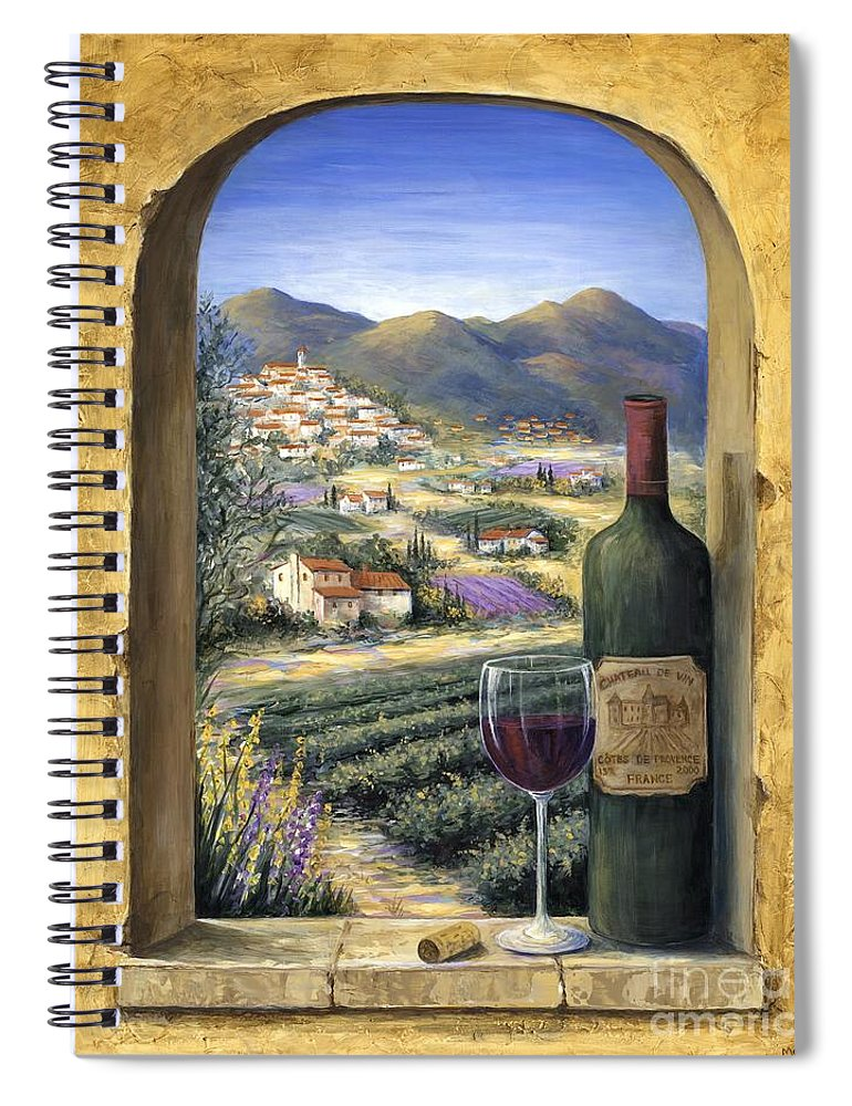 Wine Spiral Notebook featuring the painting Wine and Lavender by Marilyn Dunlap