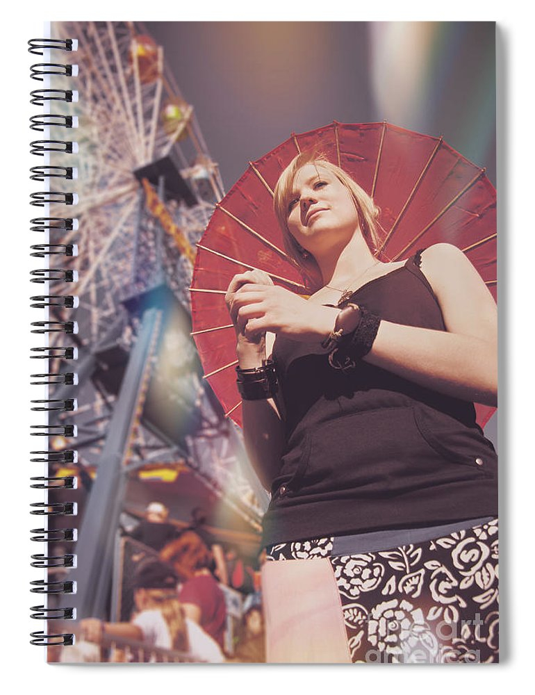 Adult Spiral Notebook featuring the photograph Woman Holding Parasol by Jorgo Photography - Wall Art Gallery