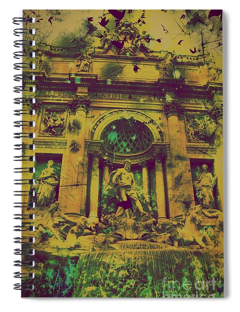 Trevi Fountain Spiral Notebook featuring the digital art Trevi Fountain by Marina McLain
