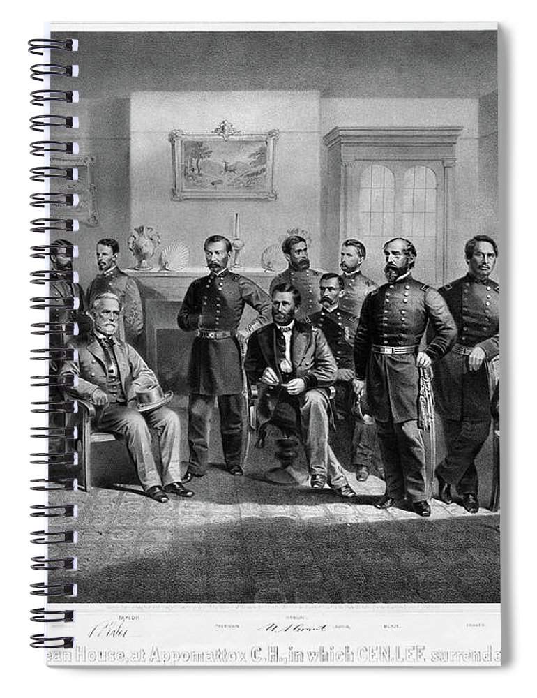 1865 Spiral Notebook featuring the painting Lee's Surrender, 1865 by Granger