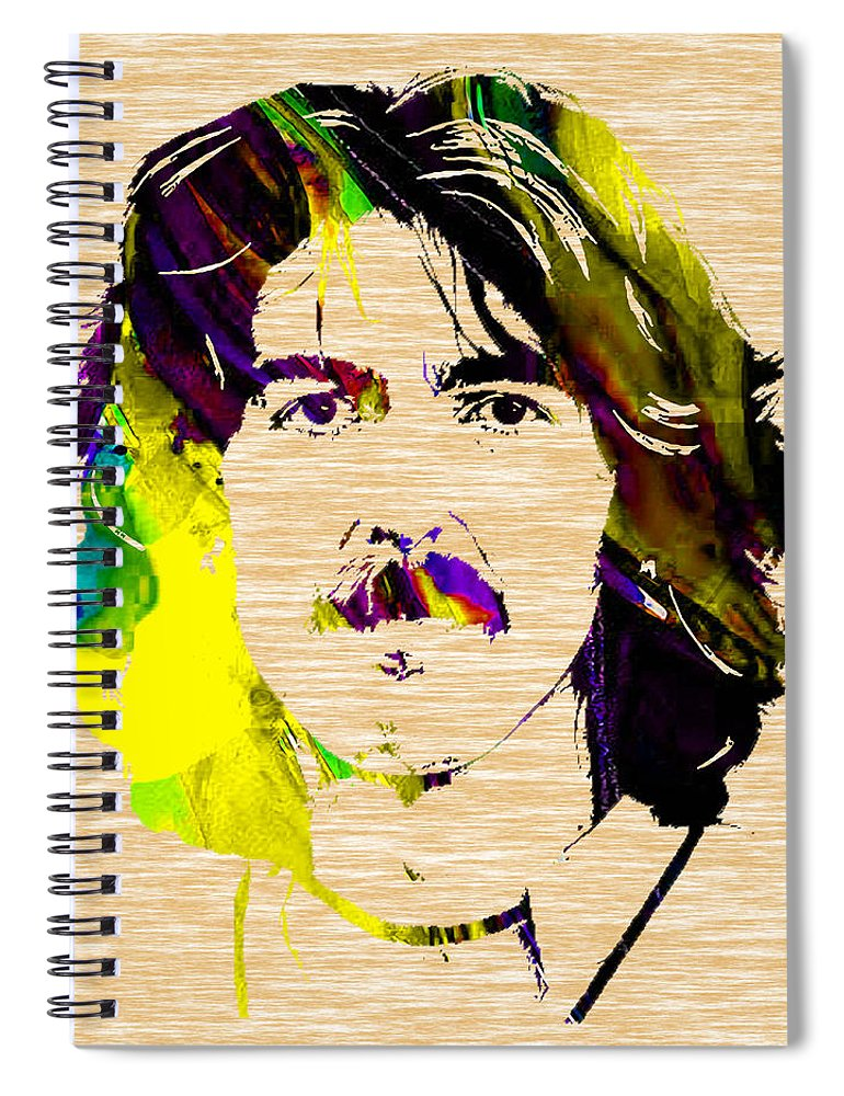 George Harrison Art Spiral Notebook featuring the mixed media George Harrison Collection by Marvin Blaine