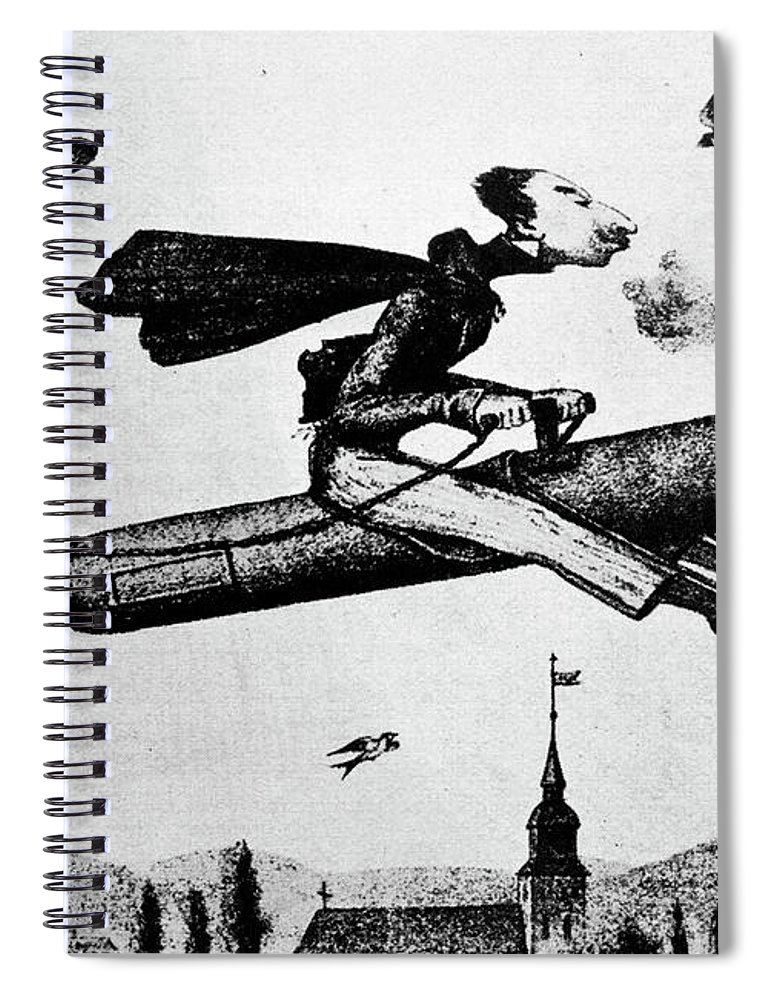 Horizontal Spiral Notebook featuring the painting 1840s 1800s Illustration Cartoon Of Man by Vintage Images