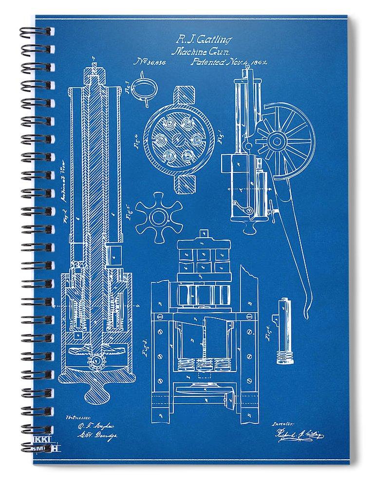 1862 Gatling Gun Patent Artwork - Blueprint Spiral Notebook on