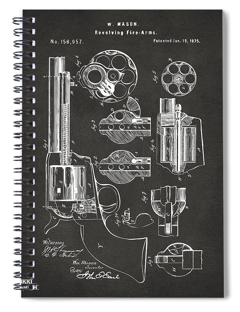 Colt Peacemaker Spiral Notebook featuring the digital art 1875 Colt Peacemaker Revolver Patent Artwork - Gray 1875 by Nikki Marie Smith