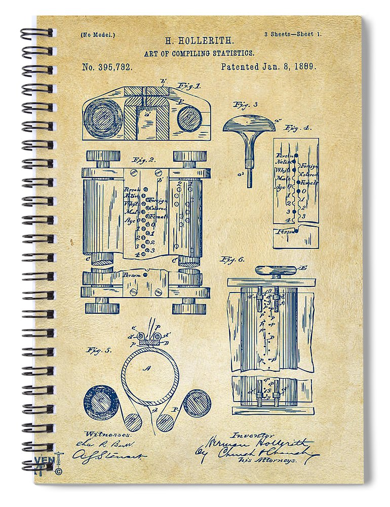 1889 First Computer Patent Vintage Spiral Notebook