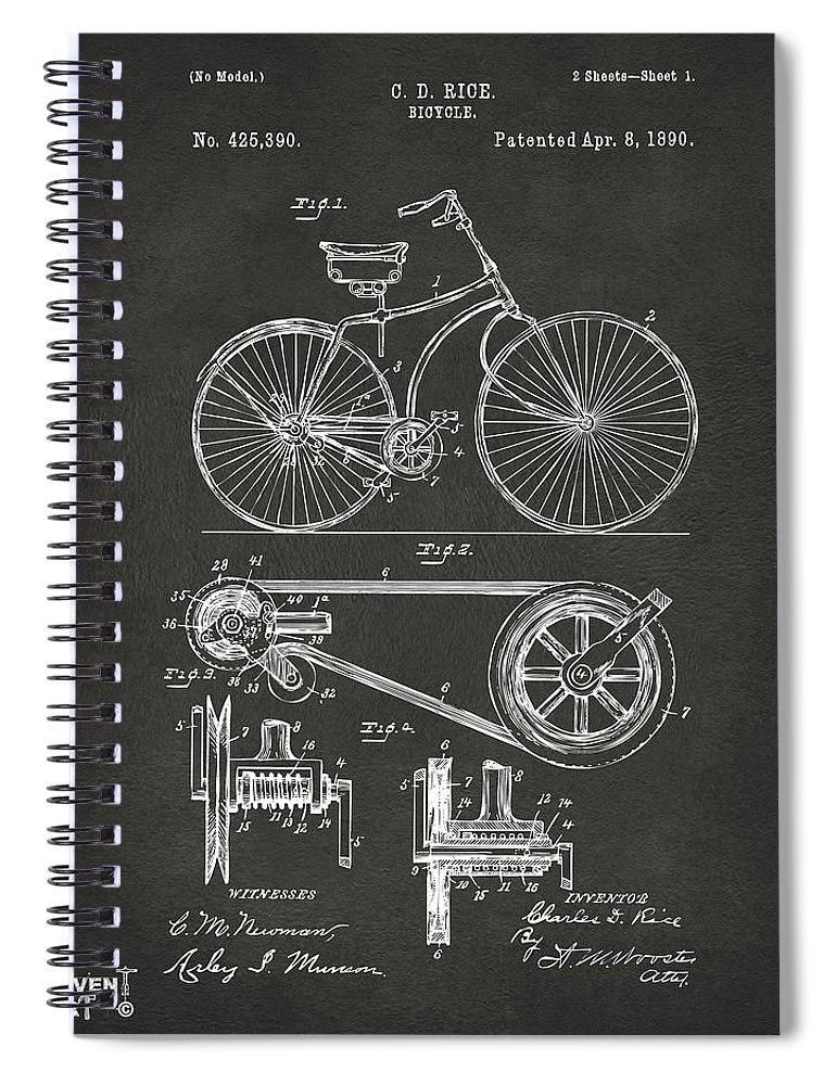 Velocipede Spiral Notebook featuring the digital art 1890 Bicycle Patent Artwork - Gray by Nikki Marie Smith