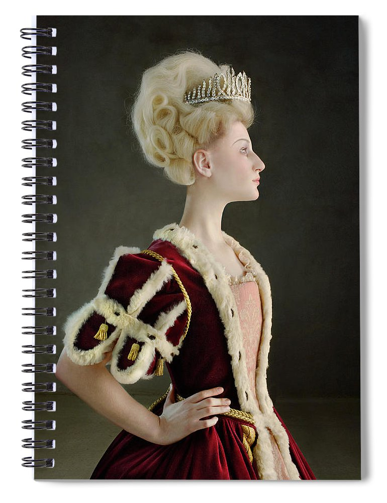 People Spiral Notebook featuring the photograph 18th Century Queen Wearing Red Robe by Zena Holloway