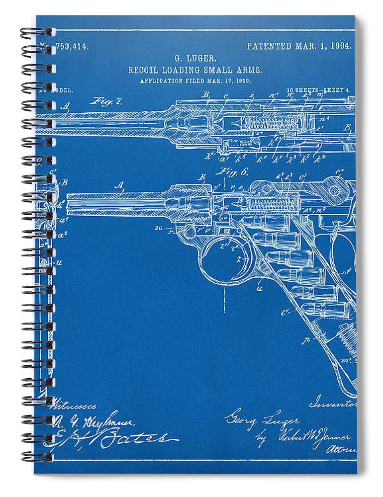 1904 luger recoil loading small arms patent blueprint spiral luger spiral notebook featuring the digital art 1904 luger recoil loading small arms patent blueprint malvernweather Gallery
