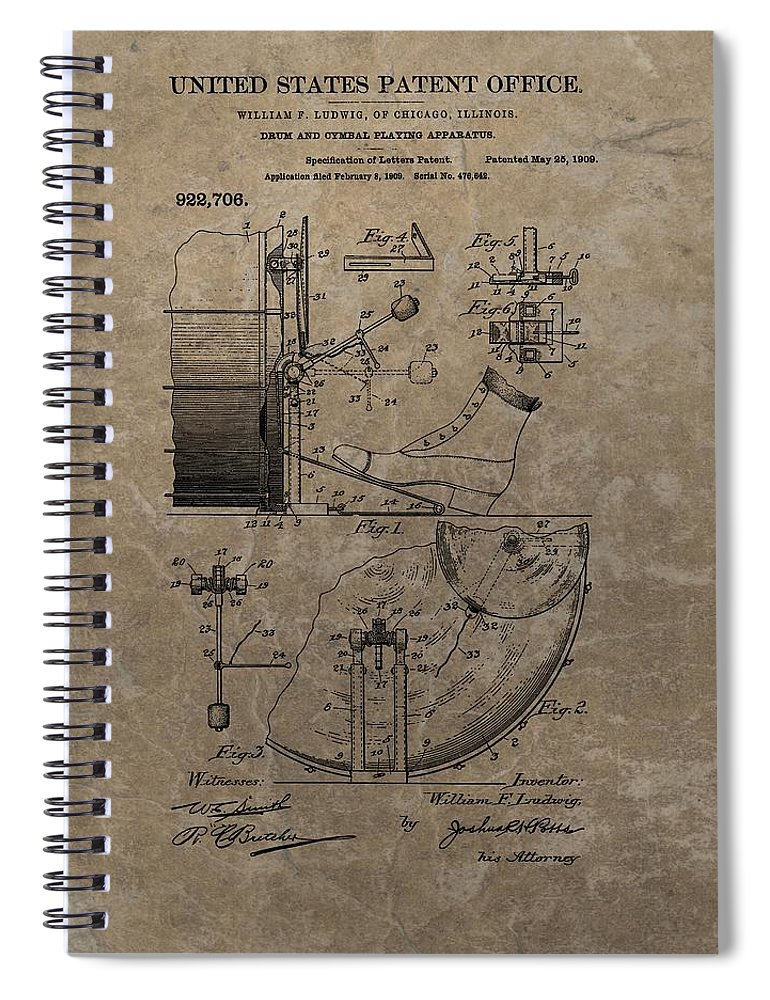 1909 Drum Patent Spiral Notebook featuring the drawing 1909 Drum Patent by Dan Sproul