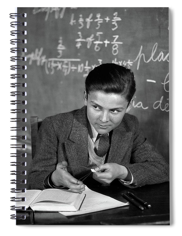 Photography Spiral Notebook featuring the photograph 1920s 1930s Boy At Desk In Classroom by Vintage Images