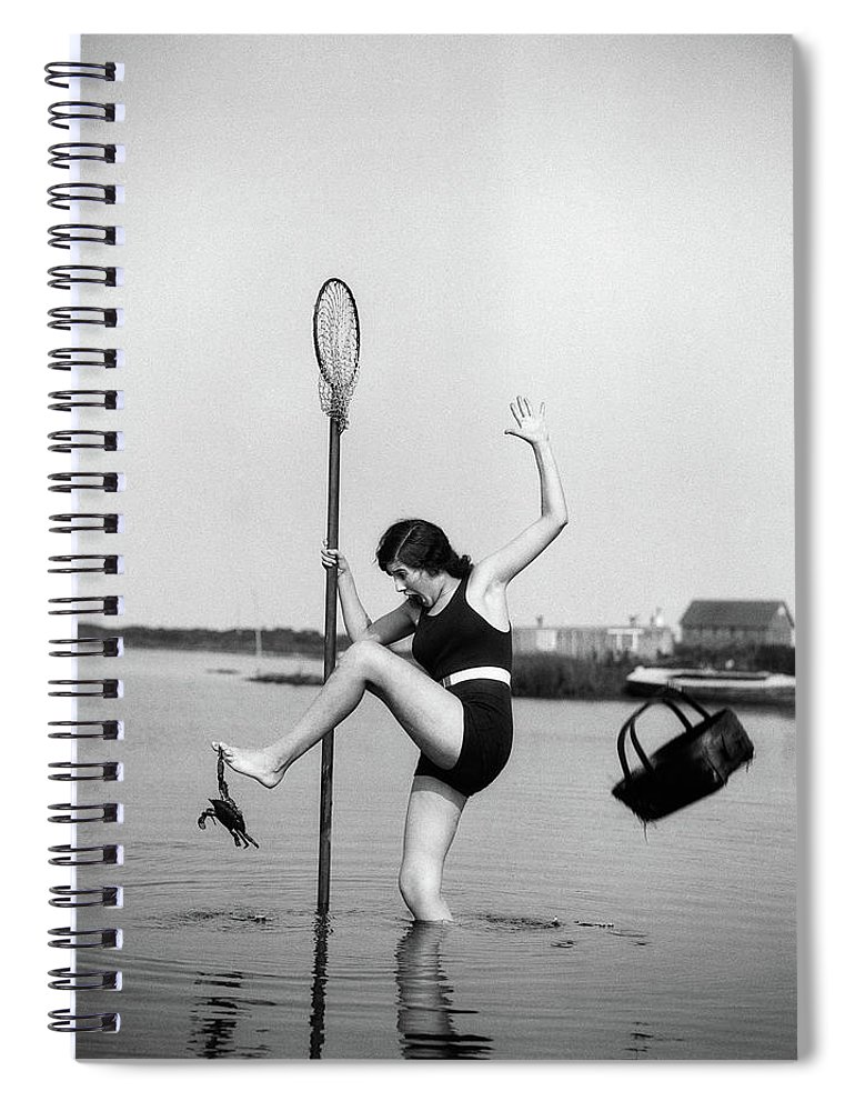 Photography Spiral Notebook featuring the photograph 1920s Woman Crabbing Surprised By Crab by Vintage Images