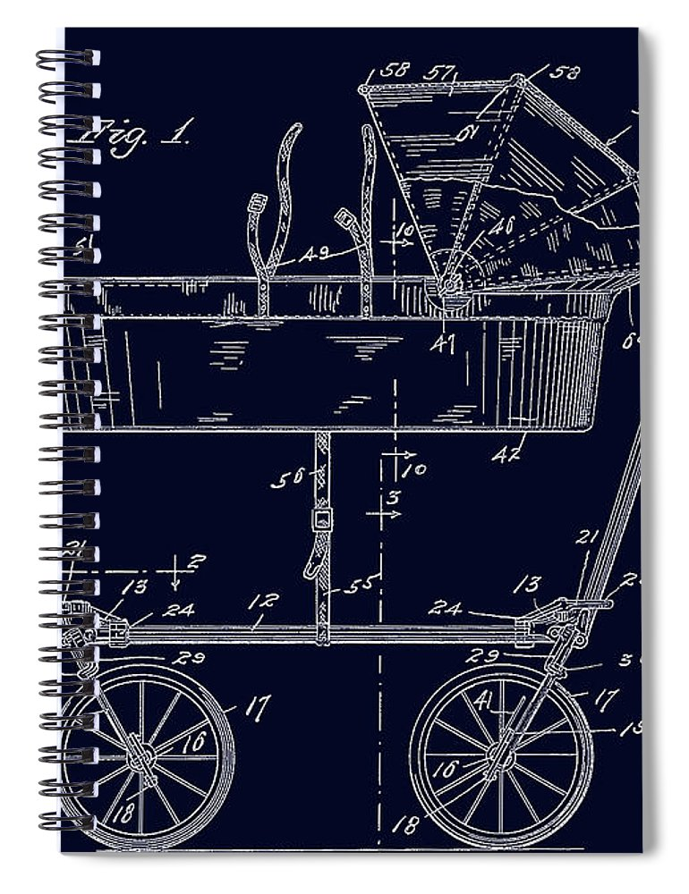 1922 baby carriage patent art blueprint spiral notebook for sale by 1922 spiral notebook featuring the digital art 1922 baby carriage patent art blueprint by lesa fine malvernweather Images