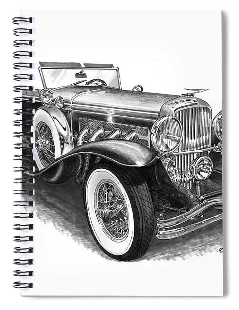 1930 Duesenberg Model J Spiral Notebook for Sale by Jack Pumphrey
