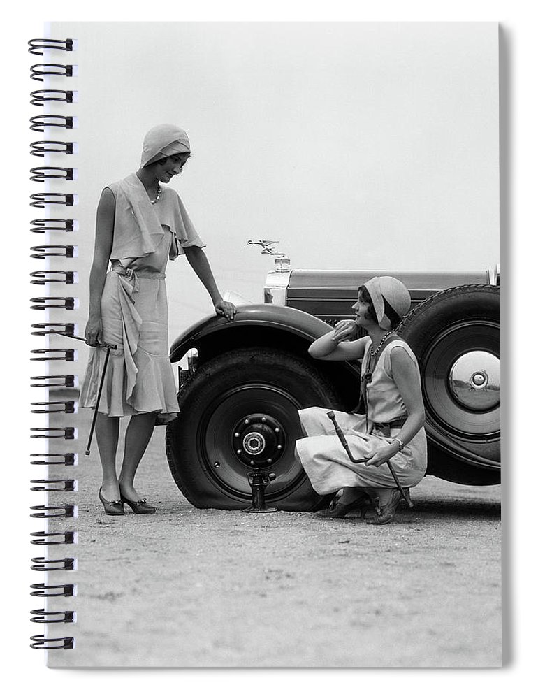 Photography Spiral Notebook featuring the photograph 1930s Two Women Confront An Automobile by Vintage Images