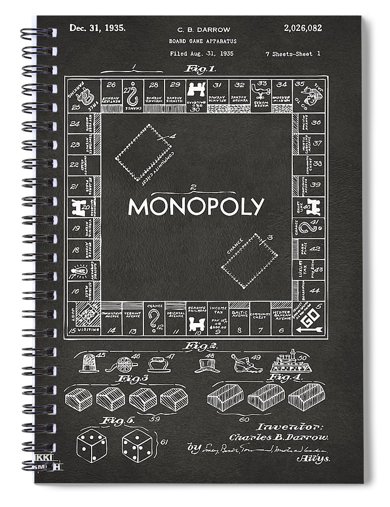 Monopoly Spiral Notebook featuring the digital art 1935 Monopoly Game Board Patent Artwork - Gray 1935 by Nikki Marie Smith
