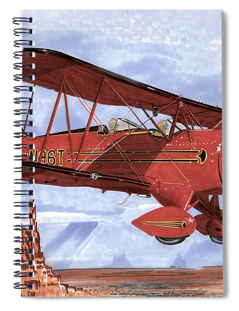 1935 Waco Bi-plane. Framed Prints Of Bi-wing Aircraft. Post Cards Of Old Airplanes. Framed Prints Of Utah Spiral Notebook featuring the painting Monument Valley Bi-plane by Jack Pumphrey