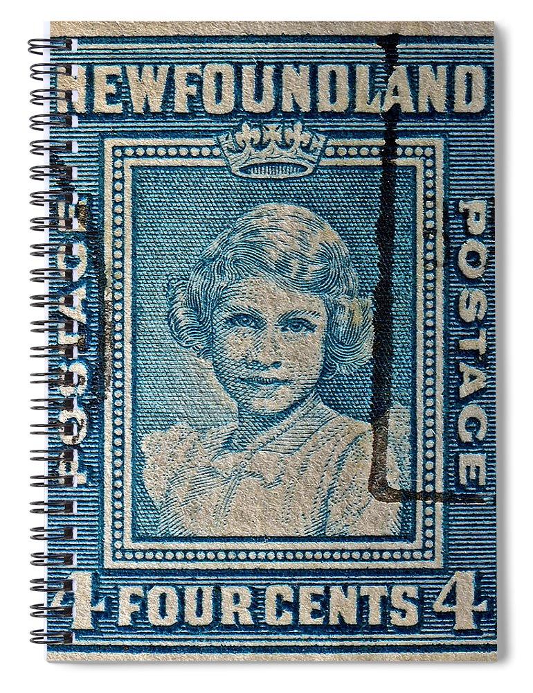1938 Spiral Notebook featuring the photograph 1938 Queen Elizabeth II Newfoundland Stamp by Bill Owen