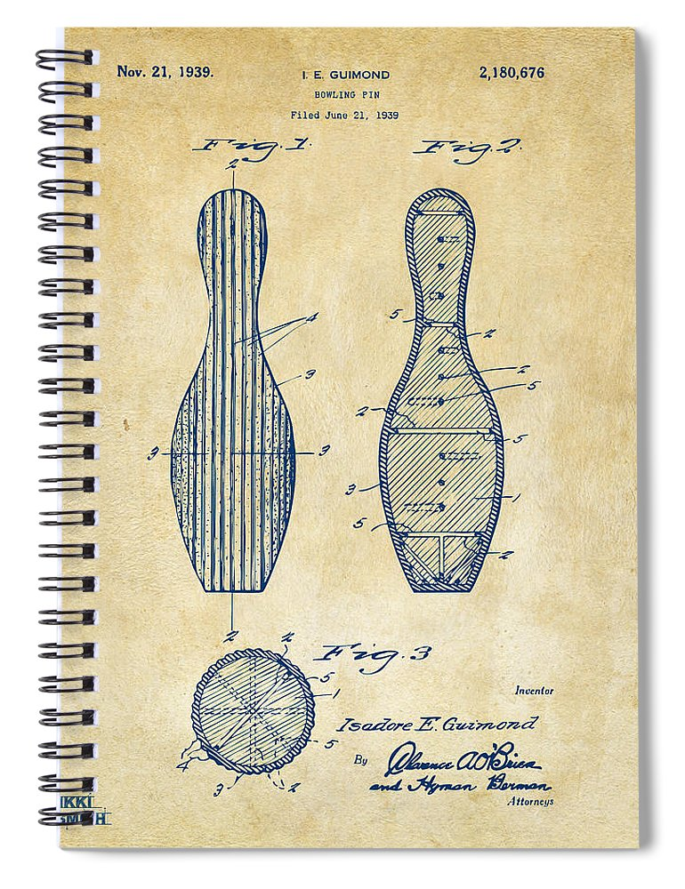 Bowling Spiral Notebook featuring the digital art 1939 Bowling Pin Patent Artwork - Vintage by Nikki Marie Smith