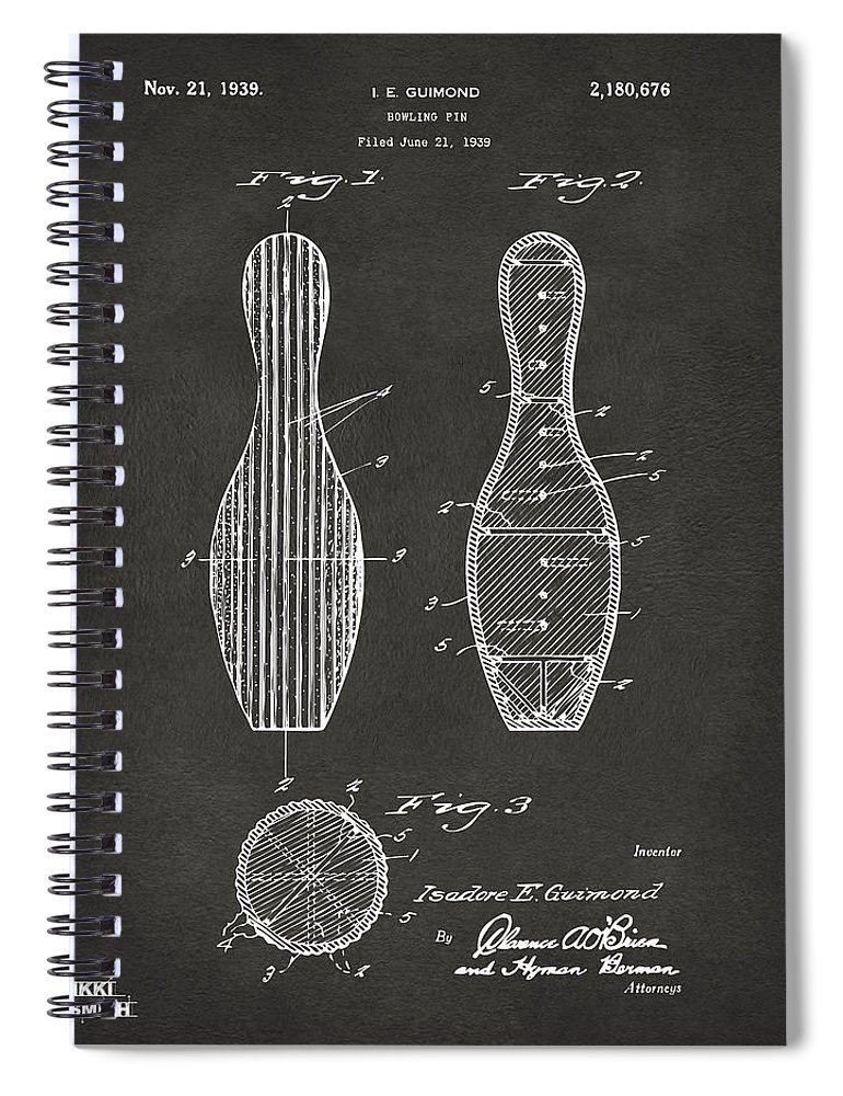 Bowling Spiral Notebook featuring the digital art 1939 Bowling Pin Patent Artwork - Gray by Nikki Marie Smith