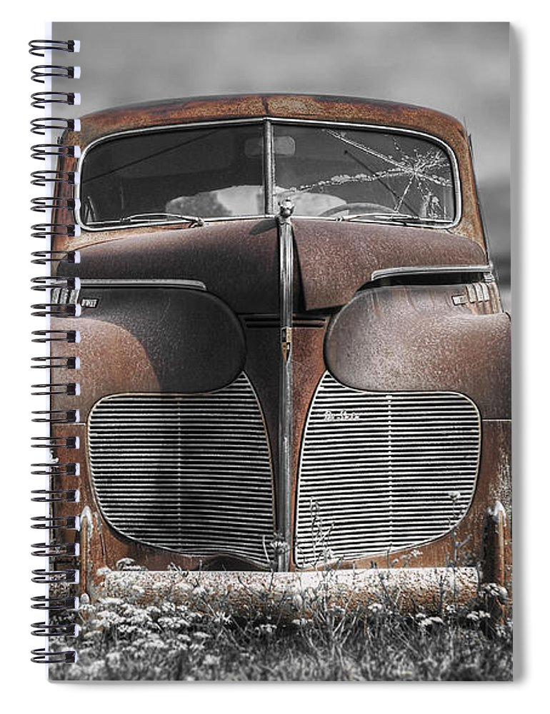 Desoto Spiral Notebook featuring the photograph 1940 Desoto Deluxe With Spot Color by Scott Norris