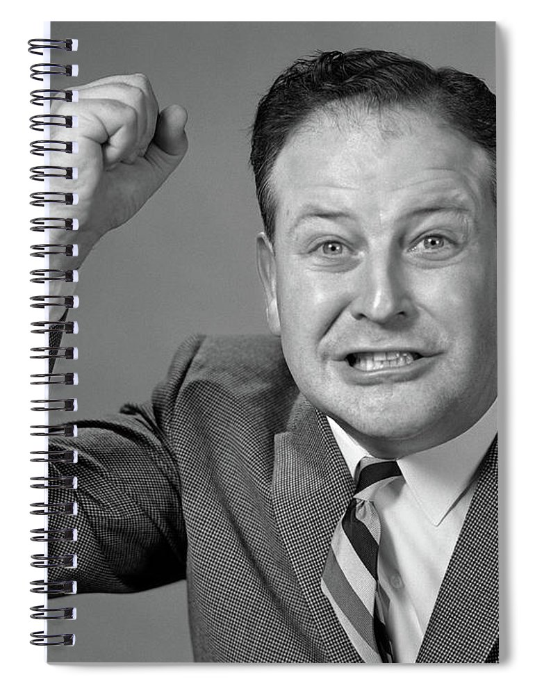 Photography Spiral Notebook featuring the photograph 1950s 1960s Portrait Of Angry Man by Vintage Images