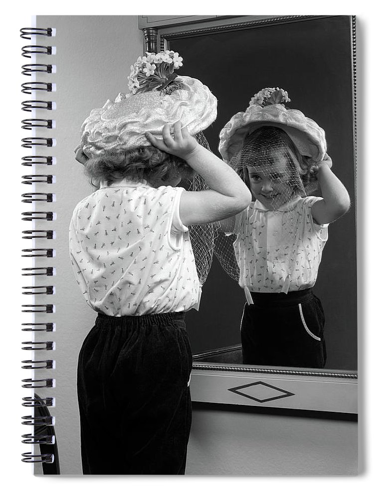 Photography Spiral Notebook featuring the photograph 1950s Little Girl Trying On Hat Looking by Vintage Images