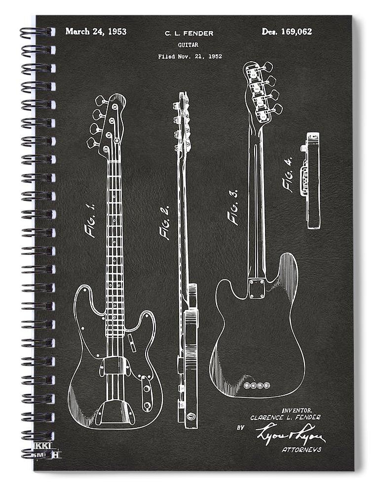 Fender Guitar Spiral Notebook featuring the digital art 1953 Fender Bass Guitar Patent Artwork - Gray by Nikki Marie Smith