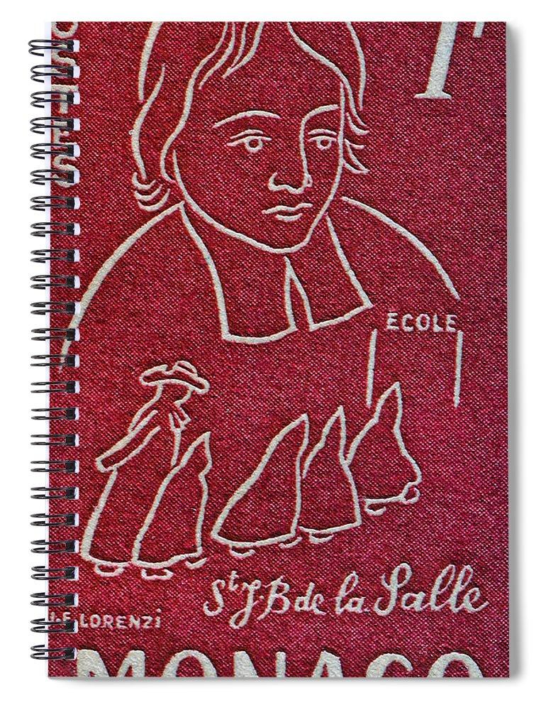 1954 Spiral Notebook featuring the photograph 1954 De La Salle Monaco Stamp by Bill Owen