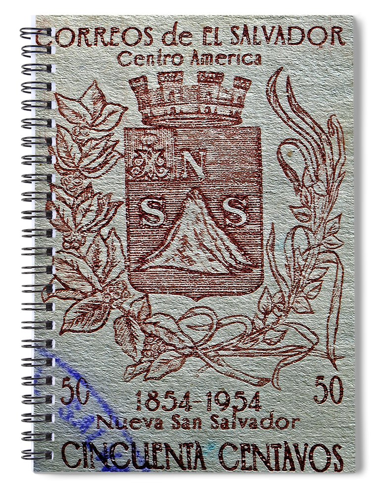 1954 Spiral Notebook featuring the photograph 1954 El Salvador Stamp by Bill Owen