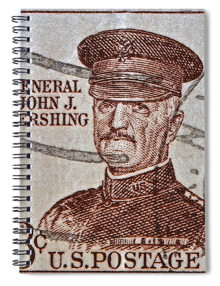 1954 Spiral Notebook featuring the photograph 1954 General John J. Pershing Stamp by Bill Owen