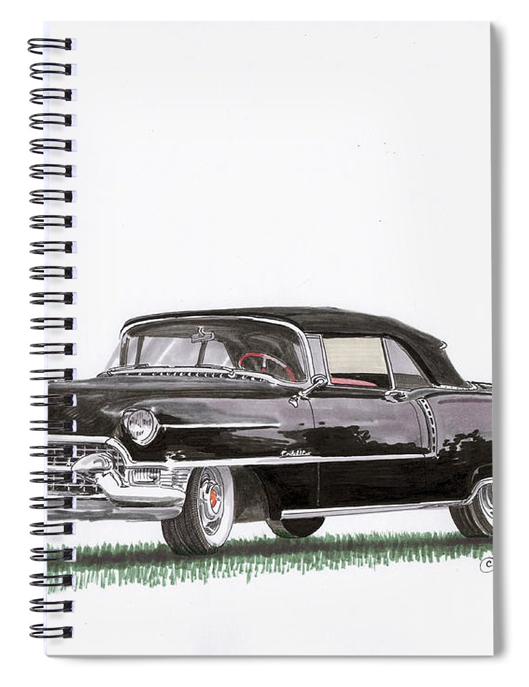 Classic Car Paintings Spiral Notebook featuring the painting 1955 Cadillac Series 62 Convertible by Jack Pumphrey