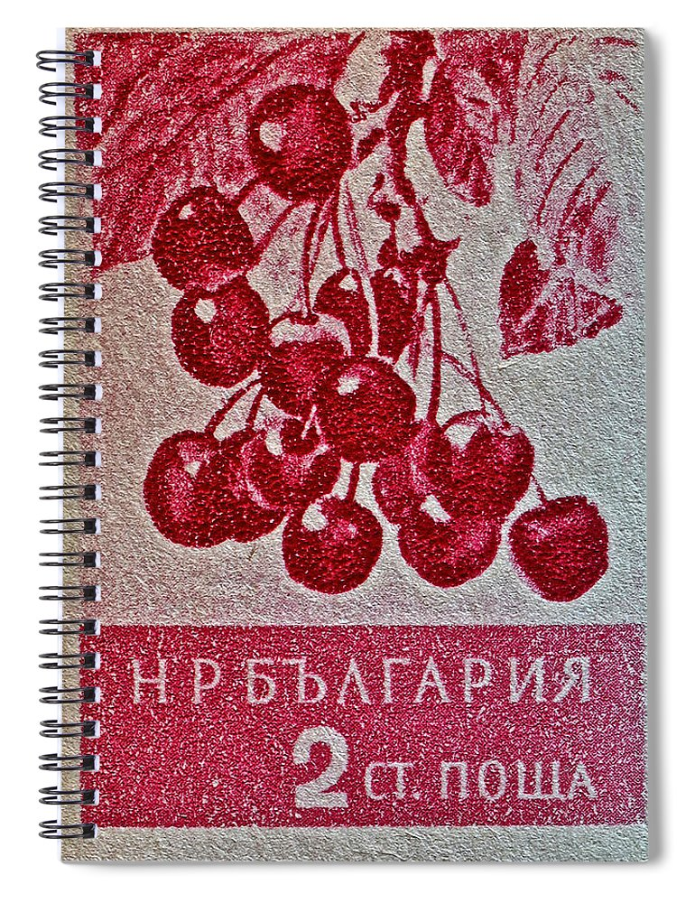1956 Bulgarian Spiral Notebook featuring the photograph 1956 Bulgarian Wild Cherry Stamp by Bill Owen