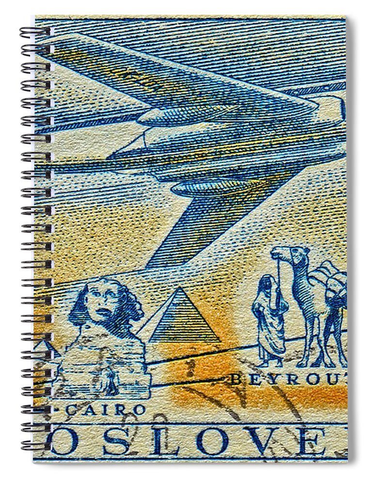 1957 Spiral Notebook featuring the photograph 1957 Czechoslovakia Airline Stamp by Bill Owen