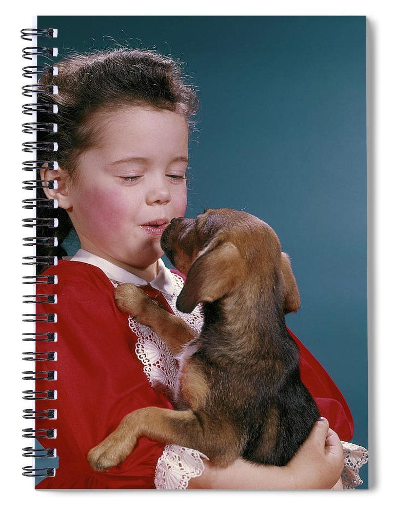 Photography Spiral Notebook featuring the photograph 1960s Little Girl Kissing Her Beagle by Vintage Images