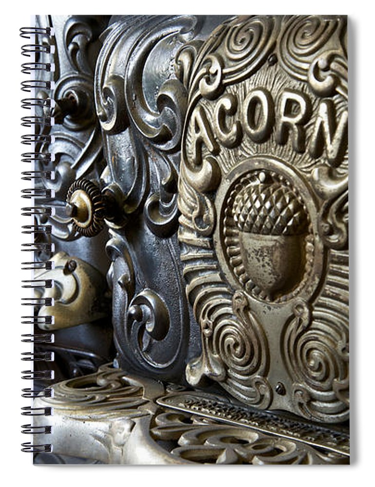Food And Beverage Spiral Notebook featuring the photograph 19th Century Acorn Cast Iron Stove White Pine Village Ludington Michigan by Mary Lee Dereske