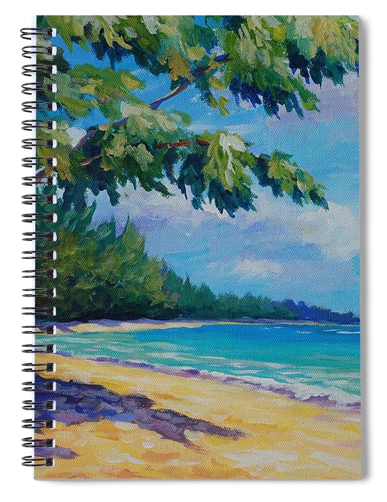7mb Spiral Notebook featuring the painting 7 Mile Beach by John Clark