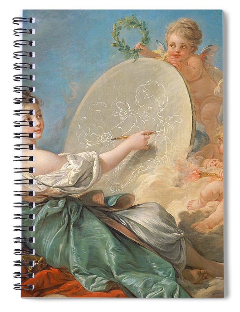 Allegory; Painting; Personification; Allegorical; Putto; Putti; Drawing; Picture; Painting; Artist; Painter; Reclining; Artist's; Tools; Paintbrush; Brushes; Palette; Canvas; Cloud; Clouds; Heavenly; Idyllic; Utopia; Utopian; Rococo; Francois; Boucher; Heaven; Heavenly; Heavens; Cherub; Cherubs; Angels; Angelic; Angel; Sky; Light; Oil; Color; Colour; Illustration; Female; Woman; Children; Girl; Delicate; Women; Cloud; Clouds; Proverb; Proverbs; Zodiac; Astrology; Zodiac Sign; Angel; Painter; Spiral Notebook featuring the painting Allegory Of Painting by Francois Boucher