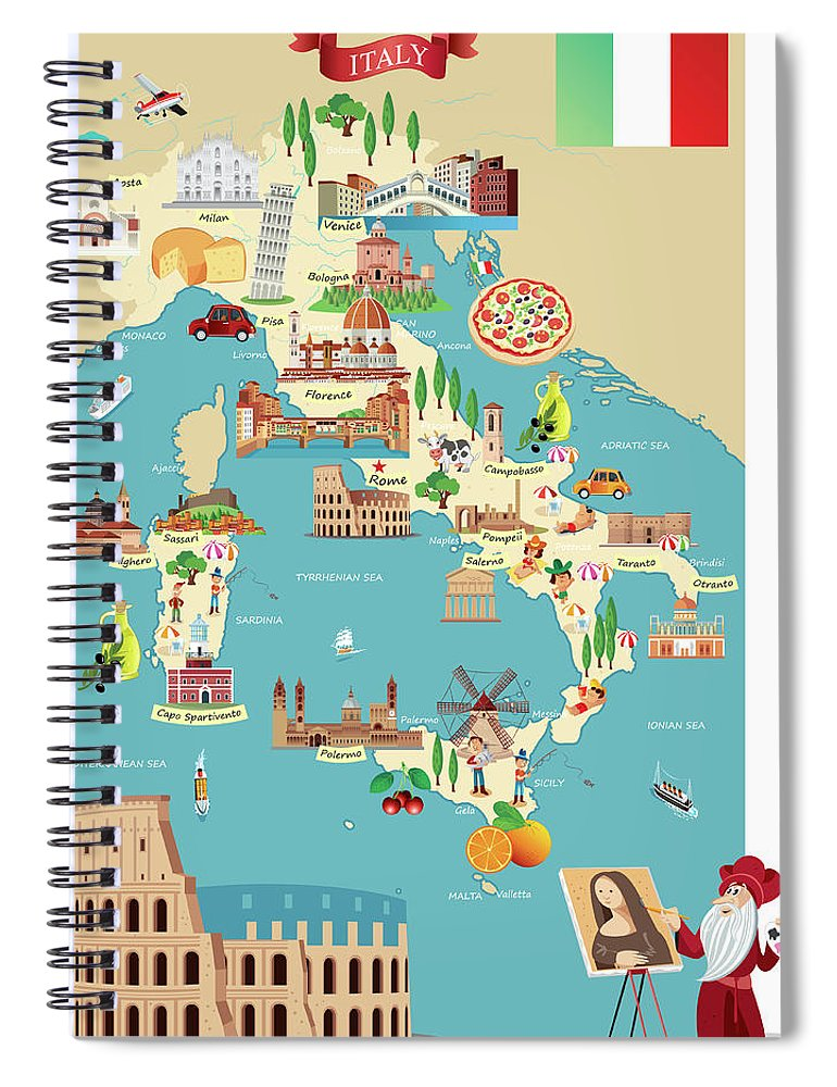 Adriatic Sea Spiral Notebook featuring the digital art Cartoon Map Of Italy by Drmakkoy