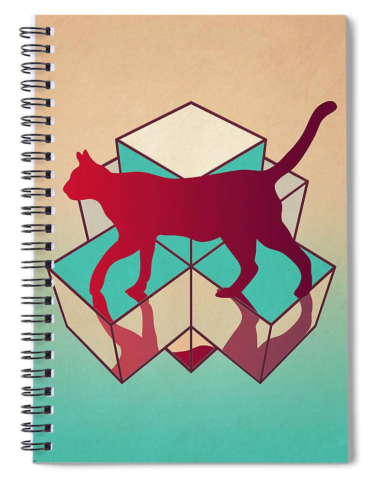 Cat Spiral Notebook featuring the digital art cat by Mark Ashkenazi