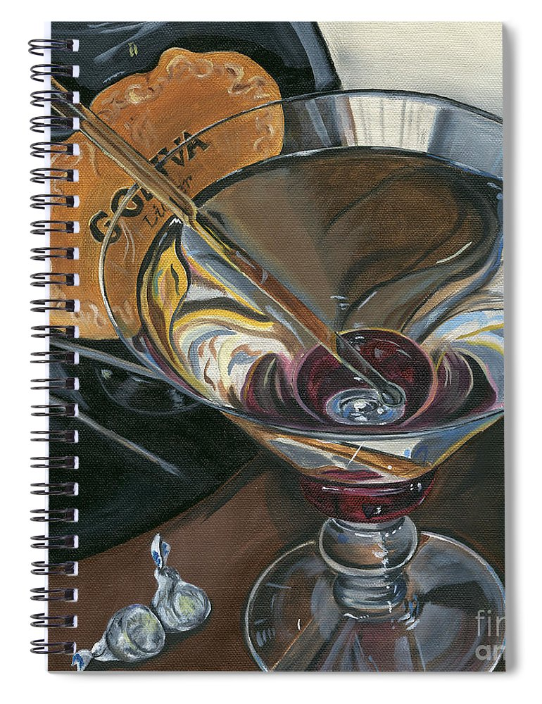 Martini Spiral Notebook featuring the painting Chocolate Martini by Debbie DeWitt