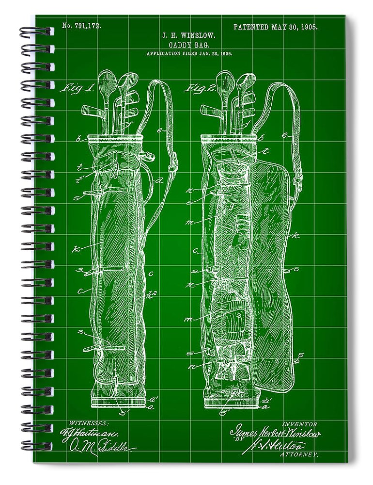 Patent Spiral Notebook featuring the digital art Golf Bag Patent 1905 - Green by Stephen Younts