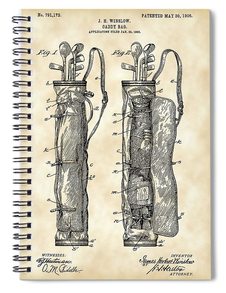 Golf Spiral Notebook featuring the digital art Golf Bag Patent 1905 - Vintage by Stephen Younts