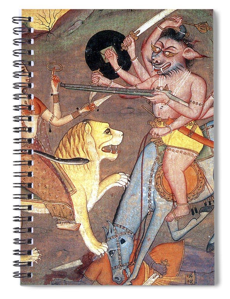 Hindu Goddess Durga Fights Mahishasur Spiral Notebook